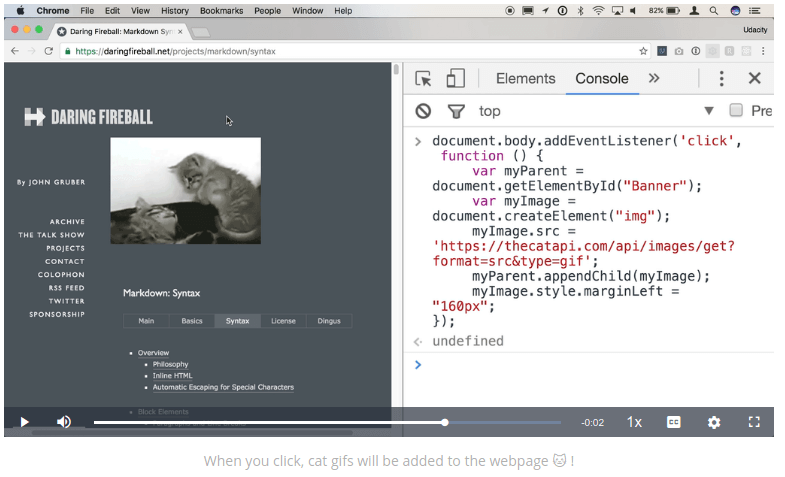 Udacity video example of code with image of kittens in Codecademy vs Udacity