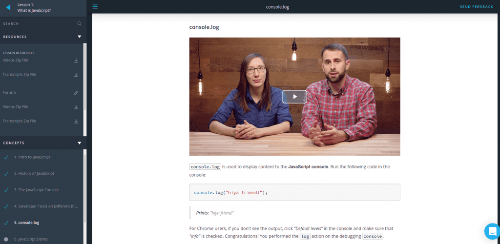 Udacity student environment with JavaScript course lessons on left with video center of man and woman talking