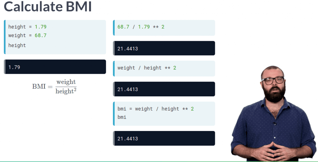 video presentation of calculate bmi with formulas and man explaining is datacamp worth it