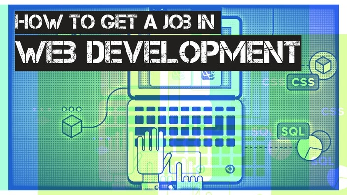 how to get a job in web development on realtoughcandy.io text over cartoon image of hands typing on laptop
