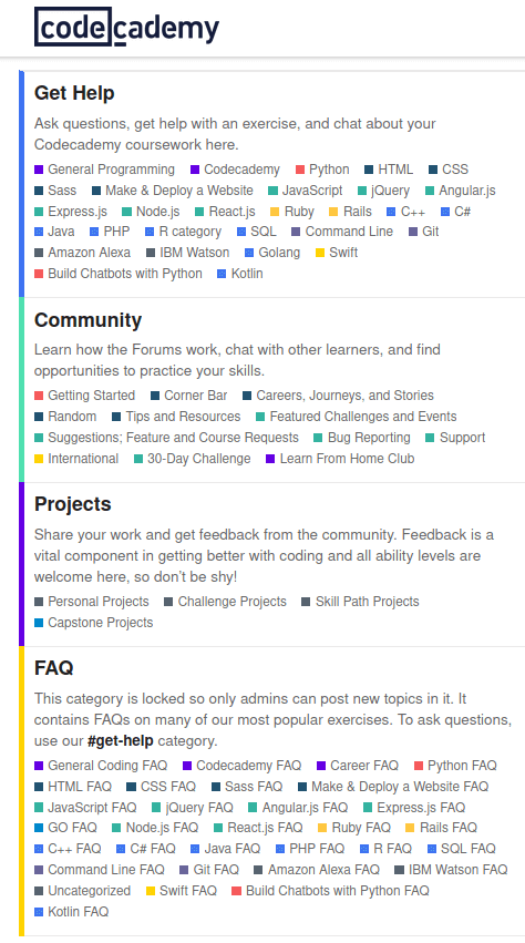 Codecademy community forum topics broken into help, community, projects, faq