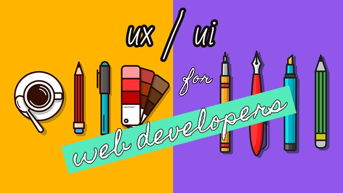 ux/ui for web developers with cartoon pens and pencils yellow purple seafoam