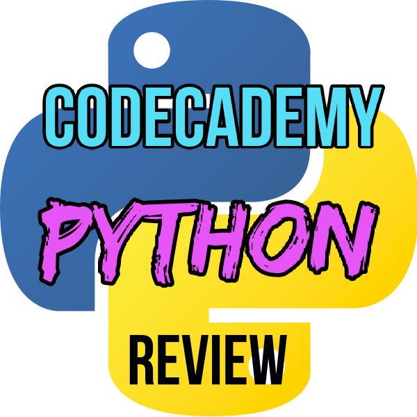 Codecademy Python Review in red and grey text with Python logo in background
