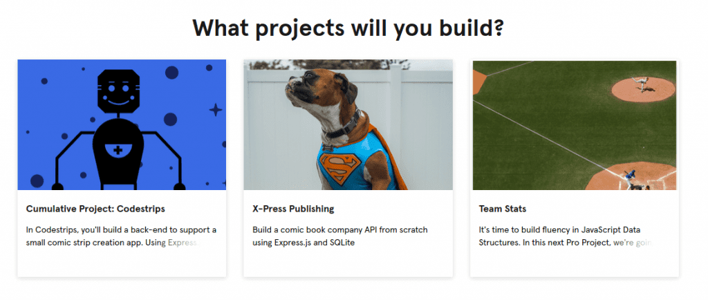 3 codecademy back-end engineer career path projects with thumbnails