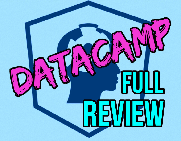 DataCamp Full Review in pink and blue with head silhouette background with gears in brain