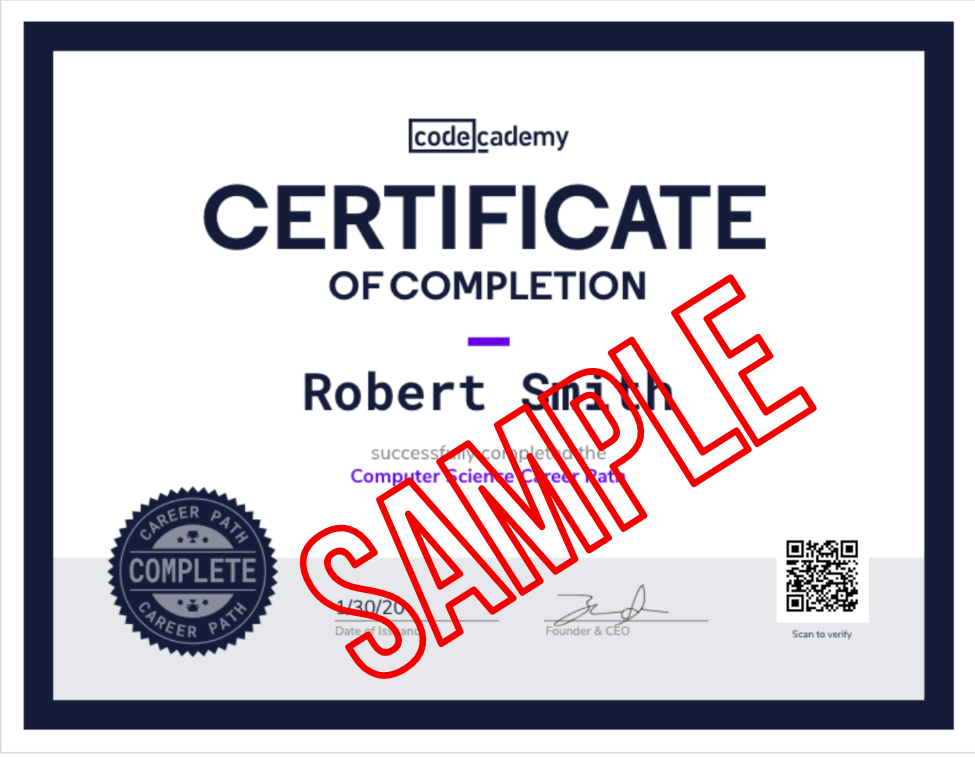 Codecademy Certificate of Completion with SAMPLE in red