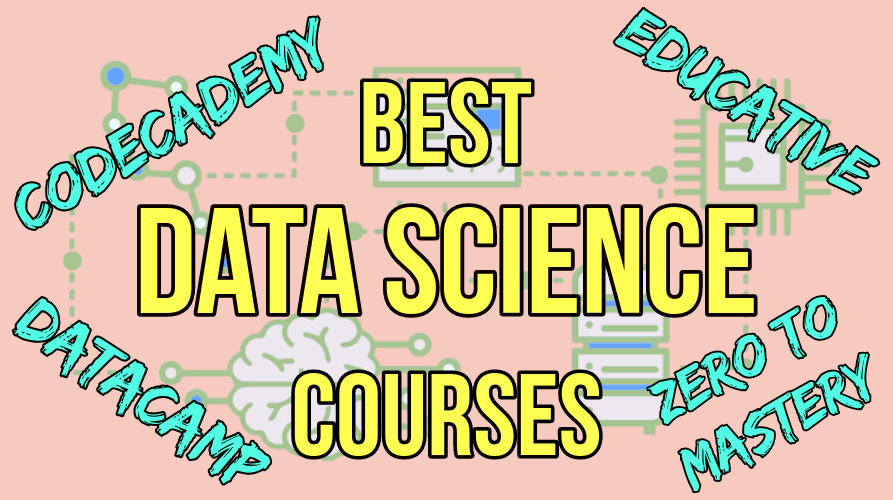 Best datas science courses in yellow with platform list and pink background