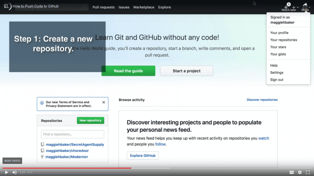 video still of GitHub page with instructions