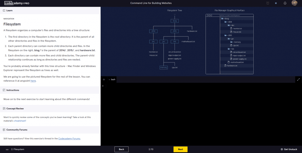 Codecademy Back-End Engineer command line instructions and embedded code editor and graph