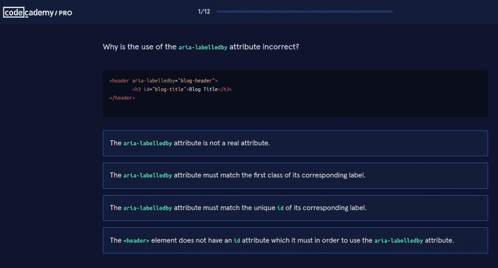 Codecademy multiple choice quiz