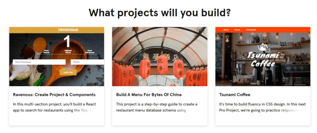 3 project descriptions with thumbnails