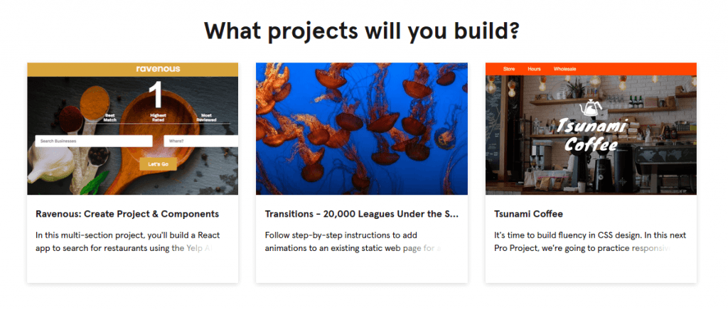 3 projects with thumbnails in Codecademy Front-End Engineer career path
