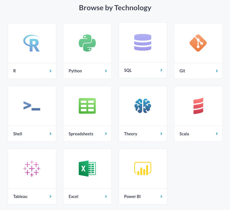 DataCamp Browse by Technology with diagram of 11 technologies