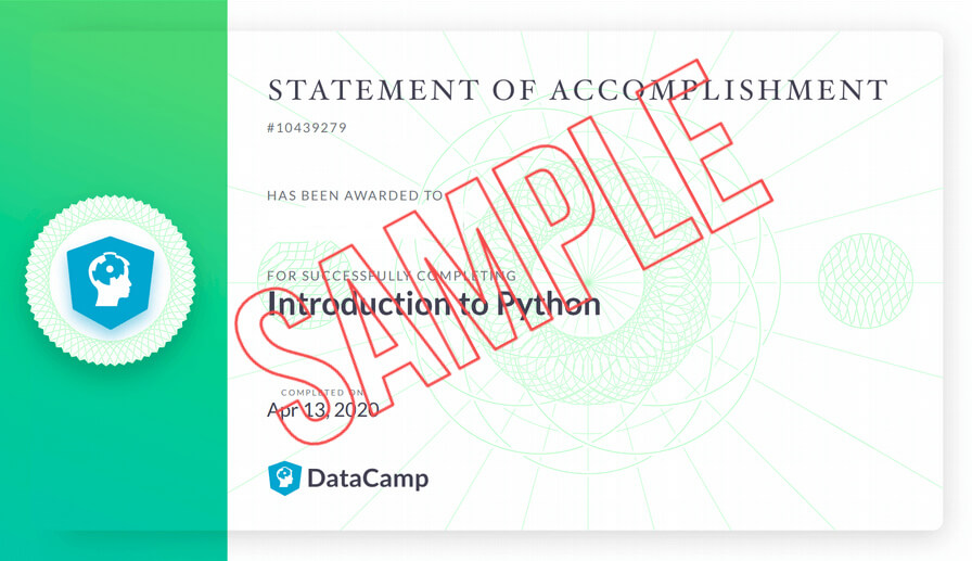DataCamp statement of accomplishment certificate with red SAMPLE overlay