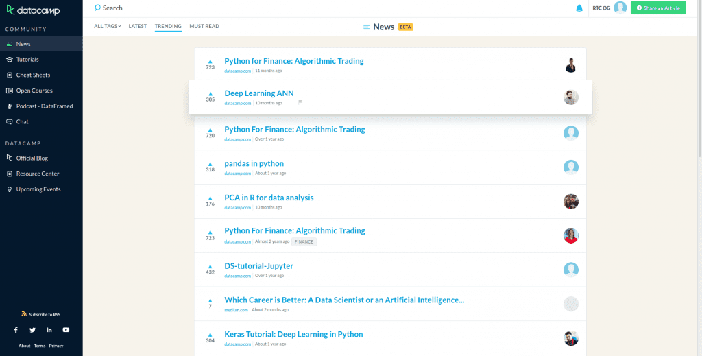 datacamp community board with tabs