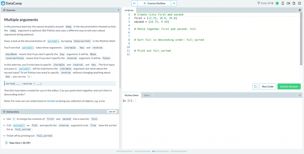 DataCamp review exercise of Multiple Arguments with instructions on left and embedded code editor on right