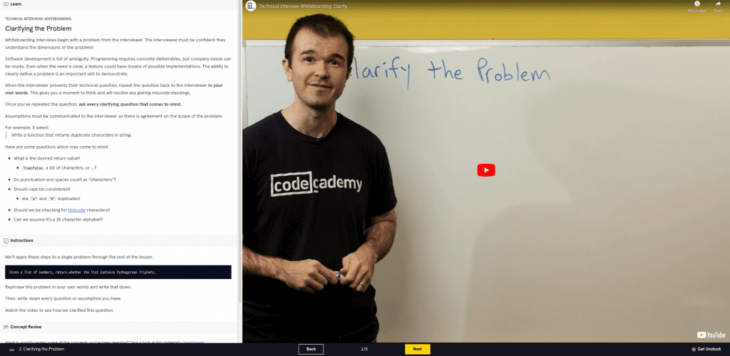 Clarifying the problem with video of man in front of whiteboard Codecademy Python review