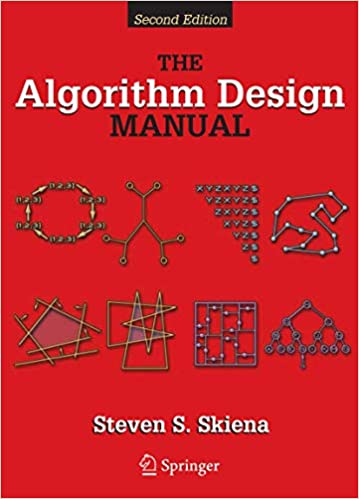 The Algorithm Design Manual book scover with various diagrams & red background