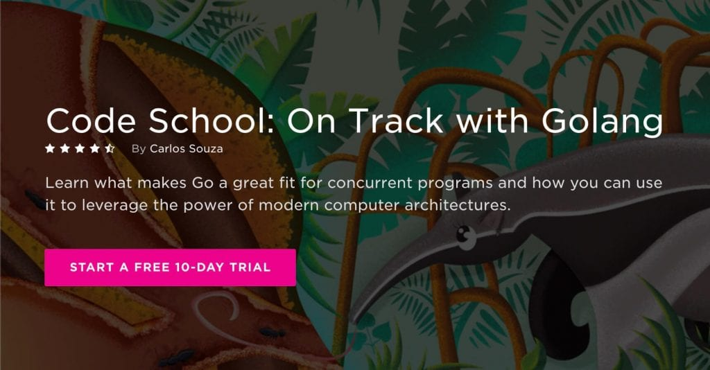 Best Go courses Code School on track with Golang pluralsight landing page
