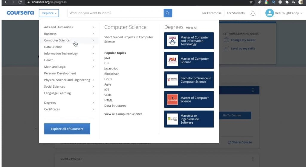 Computer Science topics menu on Coursera
