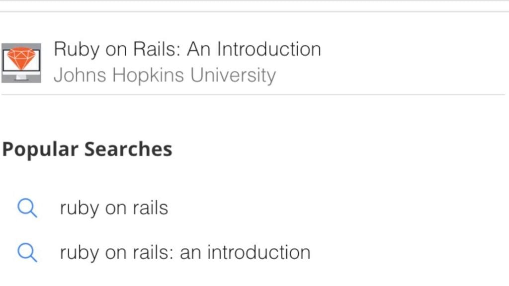 Screenshot of Ruby on Rails, an Introduction by Johns Hopkins University