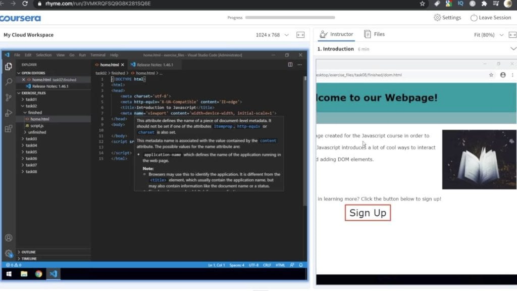 Cloud workspace environment on Coursera with code editor and lecture video