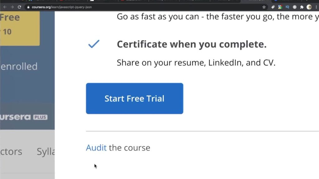 Audit Course Button on Coursera