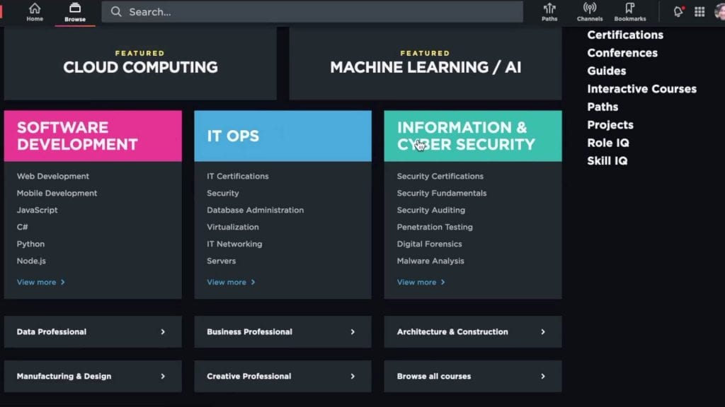 Pluaralsight landing page comparing various learning tracks