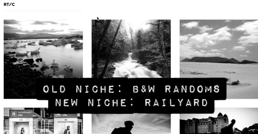 Black and white photo gallery screenshot from Portfolio Surgery