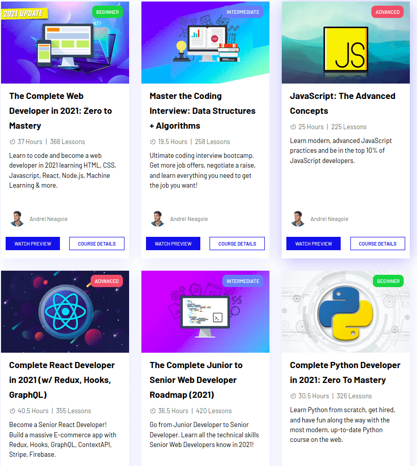 6 programming courses with thumbnails on Zero to Mastery platform