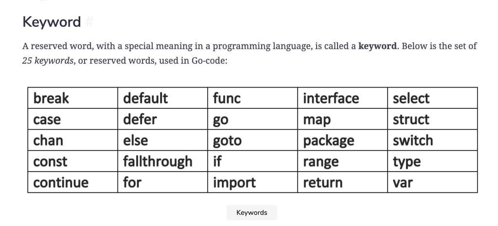 Golang Keywords from The Way to Go course on Educative.io