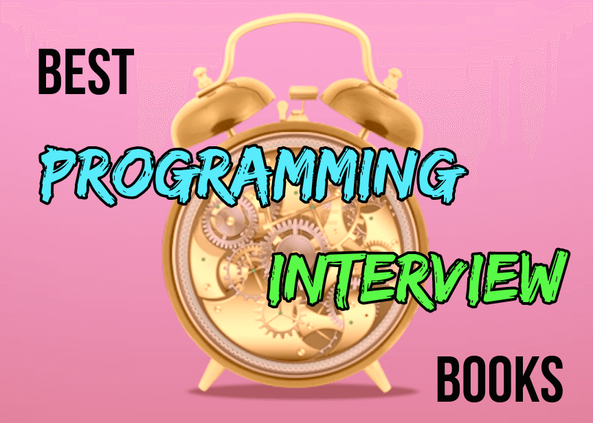 best programming interview books with alarm clock background
