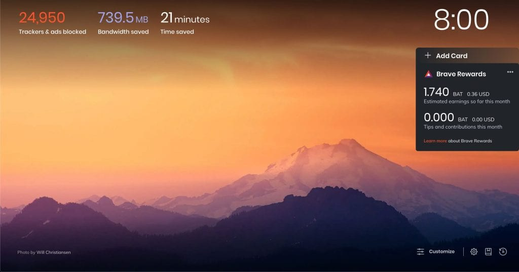 landing page of new tab using brave browser with mountains photo and orange sky