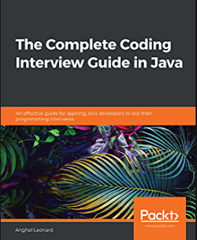 The Complete Coding Interview Guide in Java cover with tropical leaves