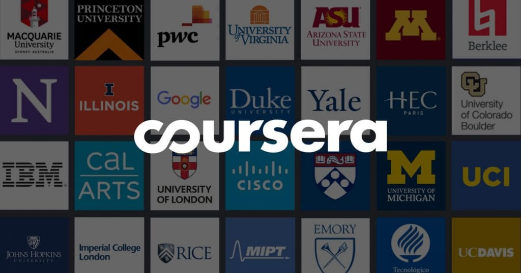 tiles of various universities with coursera logo on front
