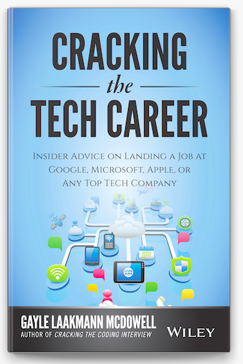Cracking the Tech Career cover with blue background and diagram