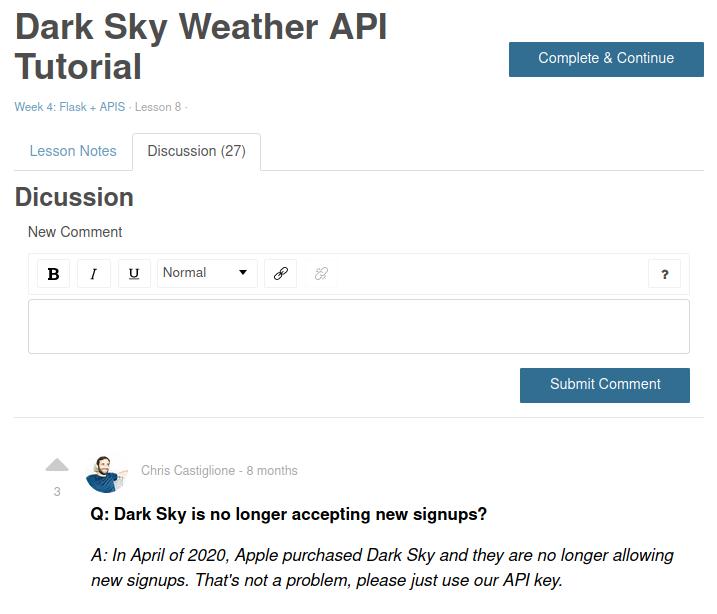 dark sky weather api tutorial discussion box with API key instructions
