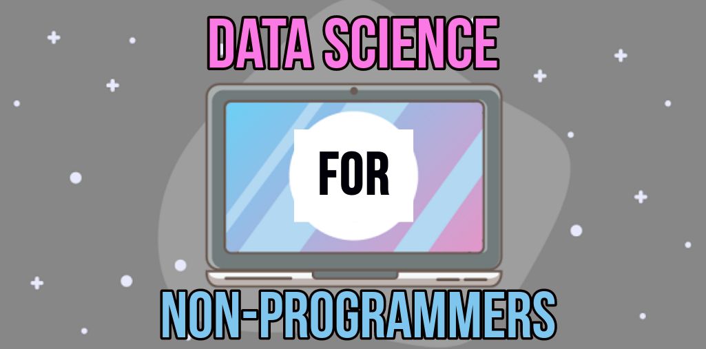 data science for non-programmers with cartoon computer and snow