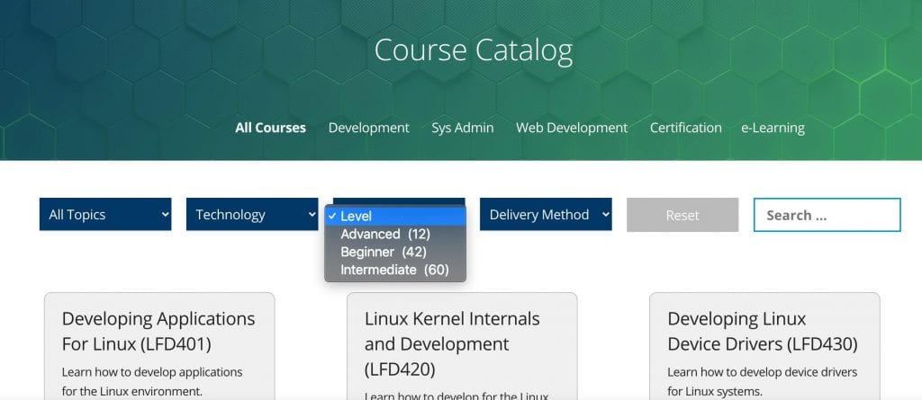 Linux Foundation course catalog options