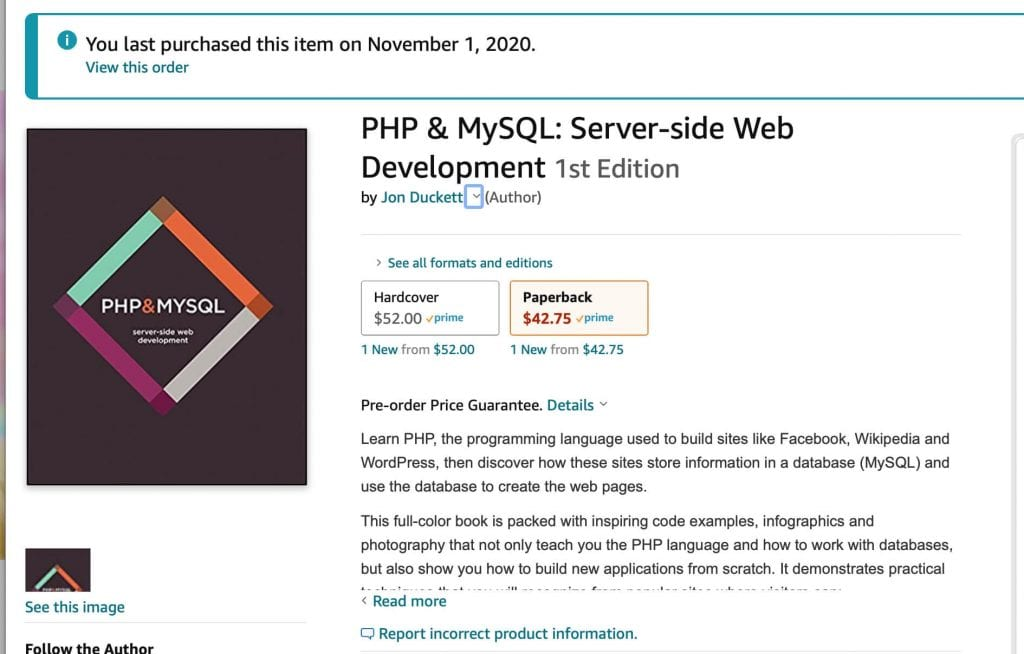 order page for php & MySQL Server side web development first edition