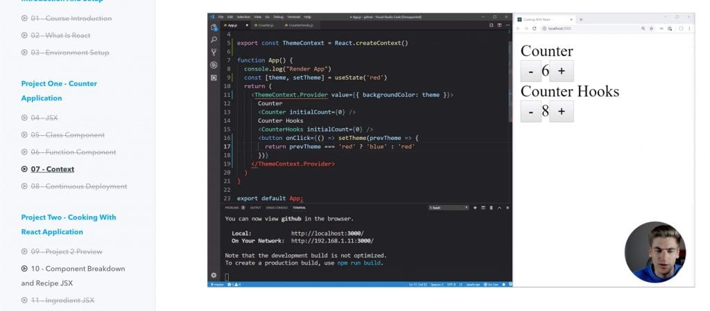 learn react today by web dev simplified best online react course with screenshot of code snippet containing counter app project code