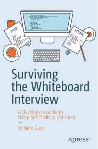 Surviving the Whiteboard Interview cover with cartoon computer and accessories