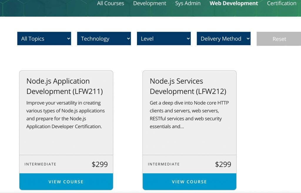 two node courses offered at the linux foundation