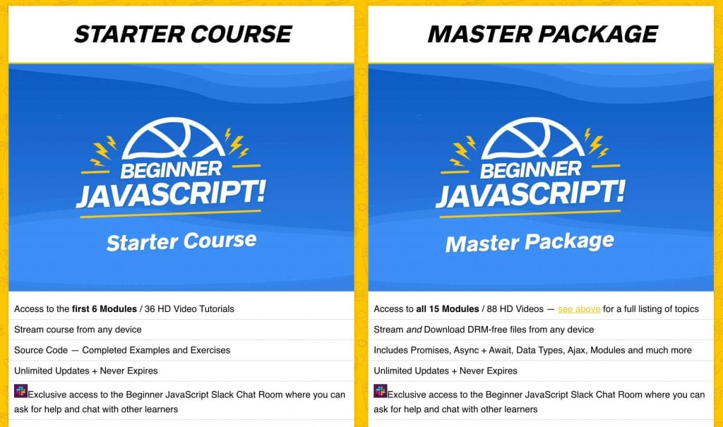 wes bos review starter course vs master package