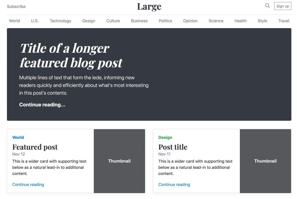 Bootstrap framework example with a landing page illustrating the various components