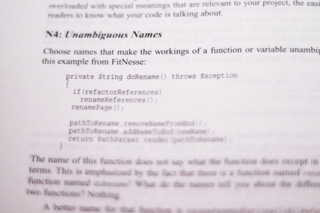 Unambiguous Names page from Clean Code by Robert C Martin