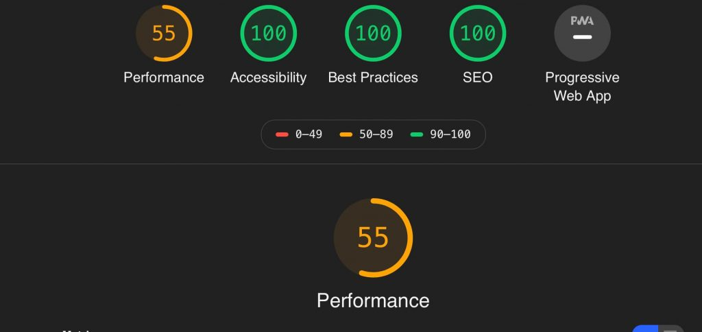 Google Lighthouse Score before removing ads with 55 performance score