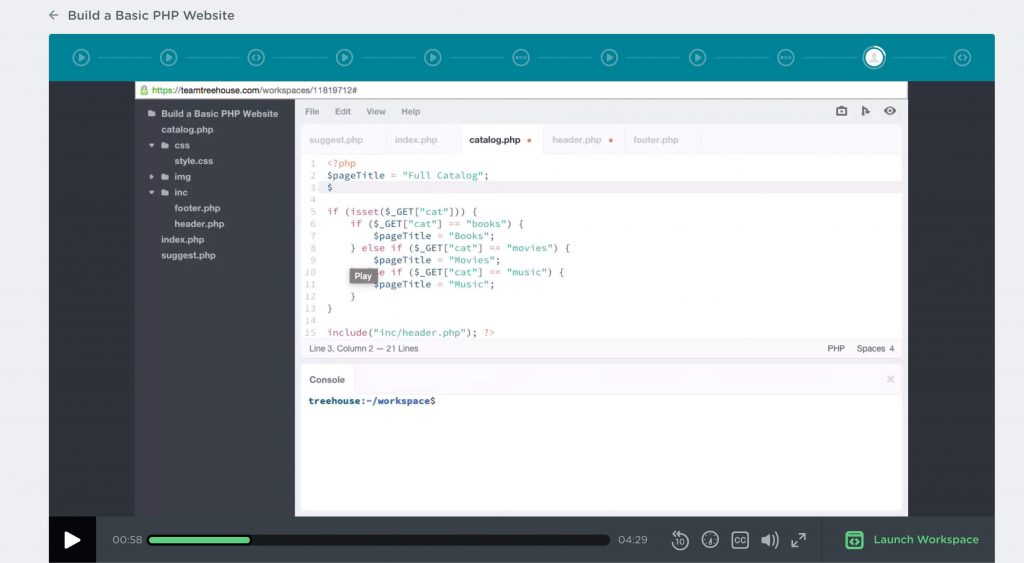 PHP code on Treehouse video