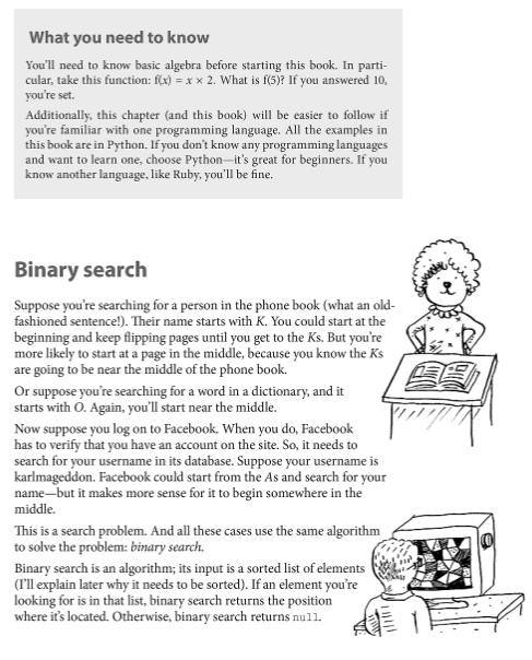 Grokking Algorithms book with Binary Search explanation with 2 illustrations