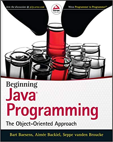 cover of java programming with multiple vials with red liquid